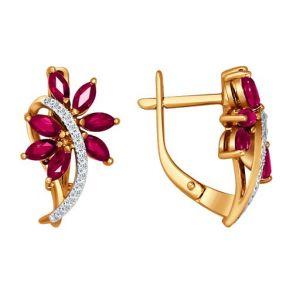 Серьги из золота с бриллиантами и рубинами SOKOLOV 4020299 золото 585