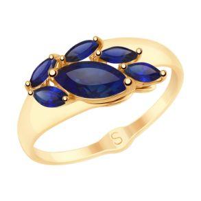 Кольцо из золота с синими корундами (синт.) 715201 SOKOLOV