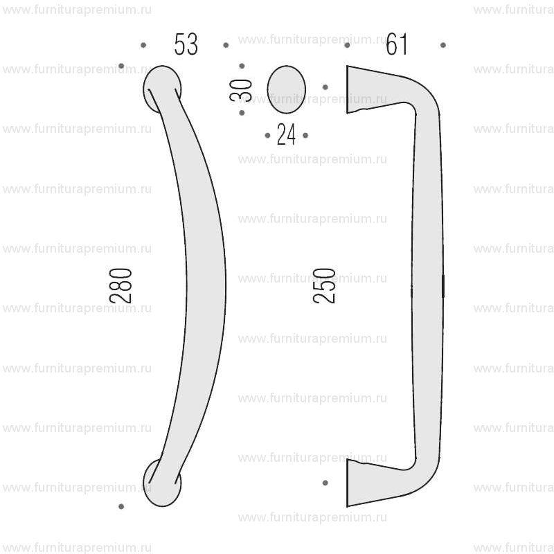 Ручка-скоба Colombo Tender MG16. Длина 280 мм.