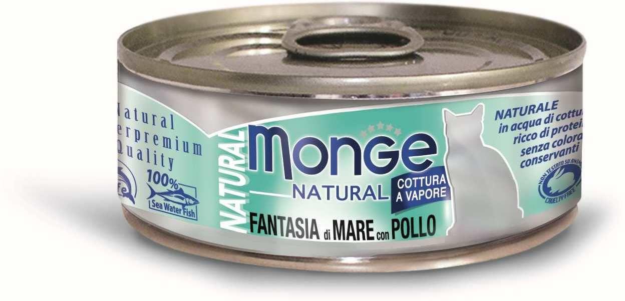 Monge Cat Natural консервы для кошек морепродукты с курицей 80 гр.