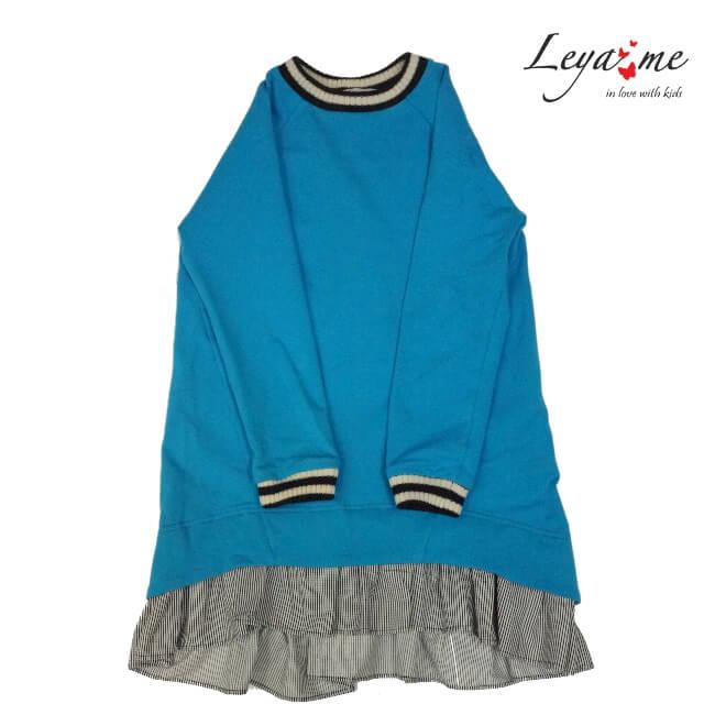 Платье-туника голубое со шнуровкой сзади