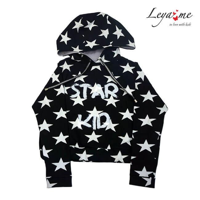 Толстовка с капюшоном укороченная  черная со звездами  Star kid