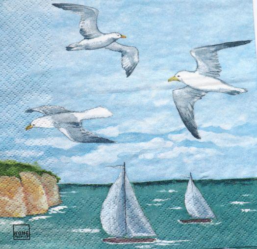 Салфетка бумажная 30*30 Чайки и яхты