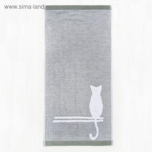 """Полотенце двухстороннее """"Этель"""" Кошка зелёный 26*50 см, 380 г/м2, 100% хлопок   3483815"""
