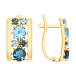 Серьги из золота с голубыми и синими топазами 725445 SOKOLOV