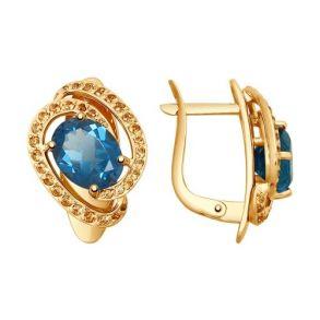 Серьги из золота с синими топазами и фианитами 725131 SOKOLOV