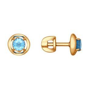 Серьги-пусеты из золота с голубыми топазами 724596 SOKOLOV