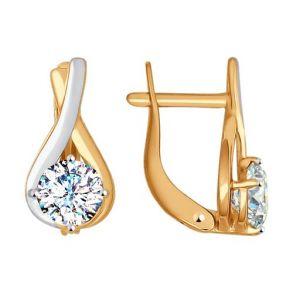 Золотые серьги со Swarovski Zirconia 81020237 SOKOLOV