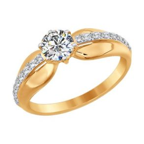 Помолвочное кольцо из золота со Swarovski Zirconia 81010218 SOKOLOV