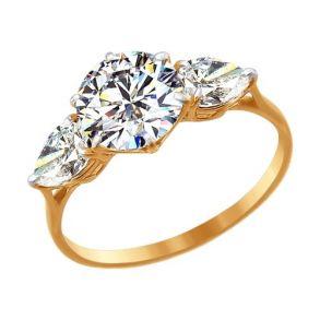 Золотое кольцо с камнями Swarovski 81010205 SOKOLOV