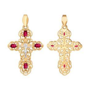 Крест из золота с красными фианитами 121277