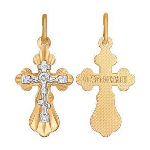 Крест из комбинированного золота с алмазной гранью 121206 SOKOLOV