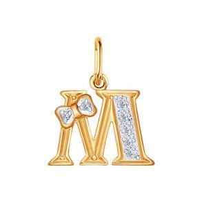 Золотая подвеска-буква «М» 030660 SOKOLOV