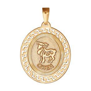 Подвеска знак зодиака из золота с алмазной гранью «Овен» 032752 SOKOLOV