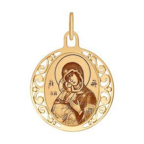 Иконка из золота с лазерной обработкой 102007 SOKOLOV