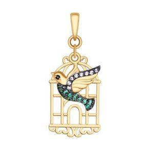 Подвеска из золота «Птица» с сиреневыми, чёрными и зелеными фианитами 035059 SOKOLOV