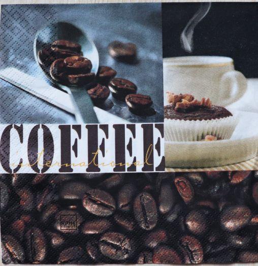 Салфетка бумажная 30*30 Coffee international