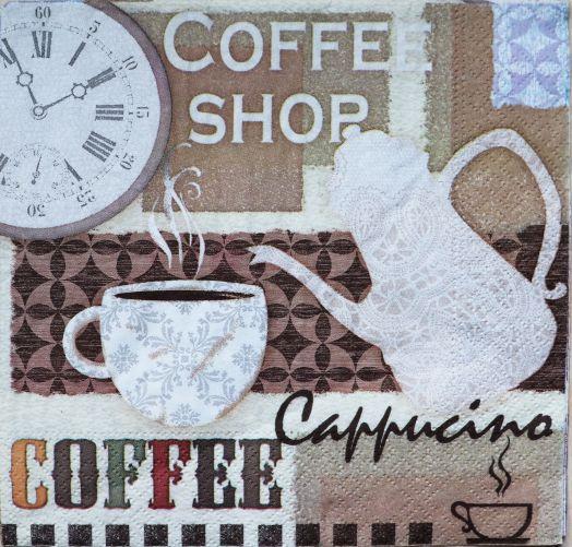Салфетка бумажная 30*30 Время для кофе
