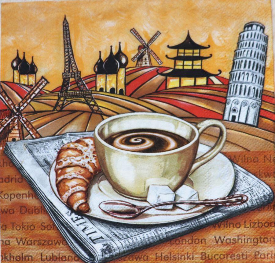 Салфетка бумажная 30*30 Кофейное путешествие