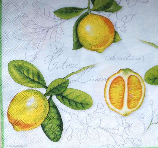 Салфетка бумажная 30*30 Лимончики