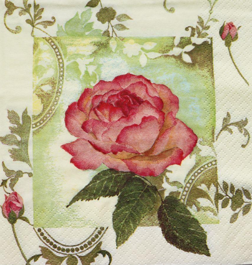 Салфетка бумажная 30*30 Роза и бутоны