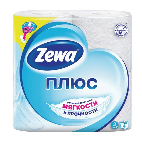 Туалетная бумага Зева Плюс 2х слойная 4шт Белая