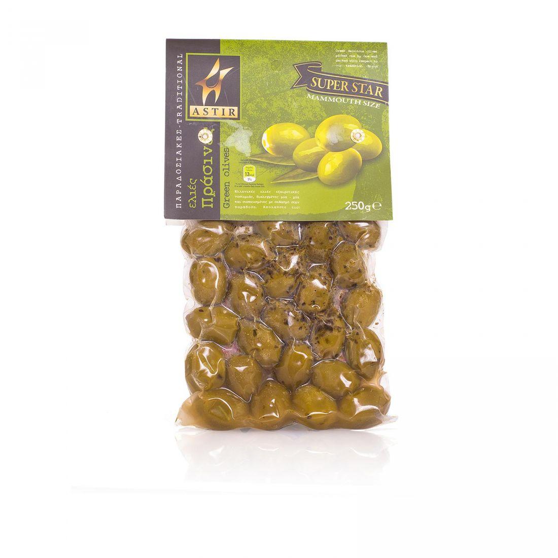 Оливки греческие зеленые в вакууме Astir - 250 гр с косточкой