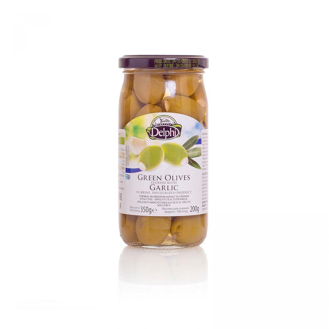 Оливки зеленые Delphi фаршированные чесноком - 350 гр - стекло