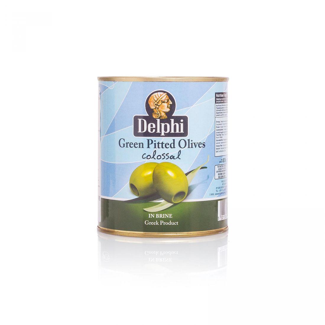Оливки зеленые Delphi - 820 гр без косточки в рассоле, жесть