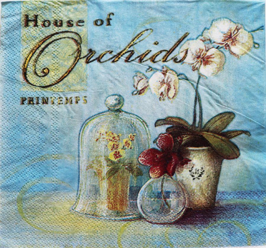 Салфетка бумажная 30*30 Орхидея винтаж