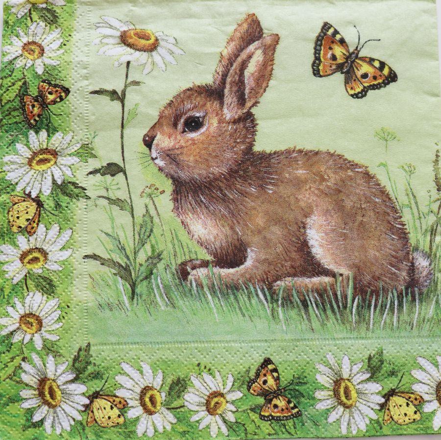 Салфетка бумажная 30*30 Кролик с ромашкой