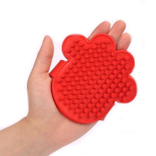 Резиновая массажная щётка для животных Лапа, 11х11 см