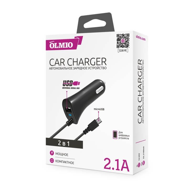 Автомобильный адаптер (АЗУ) OLMIO с USB разъемом и кабелем, 2.1A