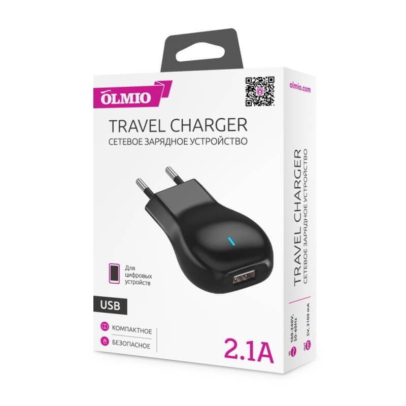 Сетевое зарядное устройство (блок питания) OLMIO с USB выходом, 2.1А
