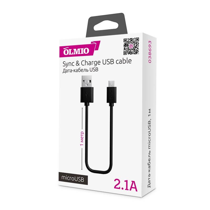Кабель microUSB - USB 2.0 для телефонов и планшетов, 1м, 2.1A, OLMIO Черный