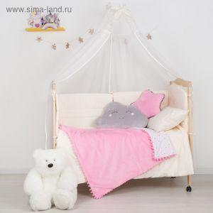 """Плед-одеялко с бомбошками """"Крошка Я"""" розовый, р-р 110 х 90 см, 100% п/э, велсофт"""