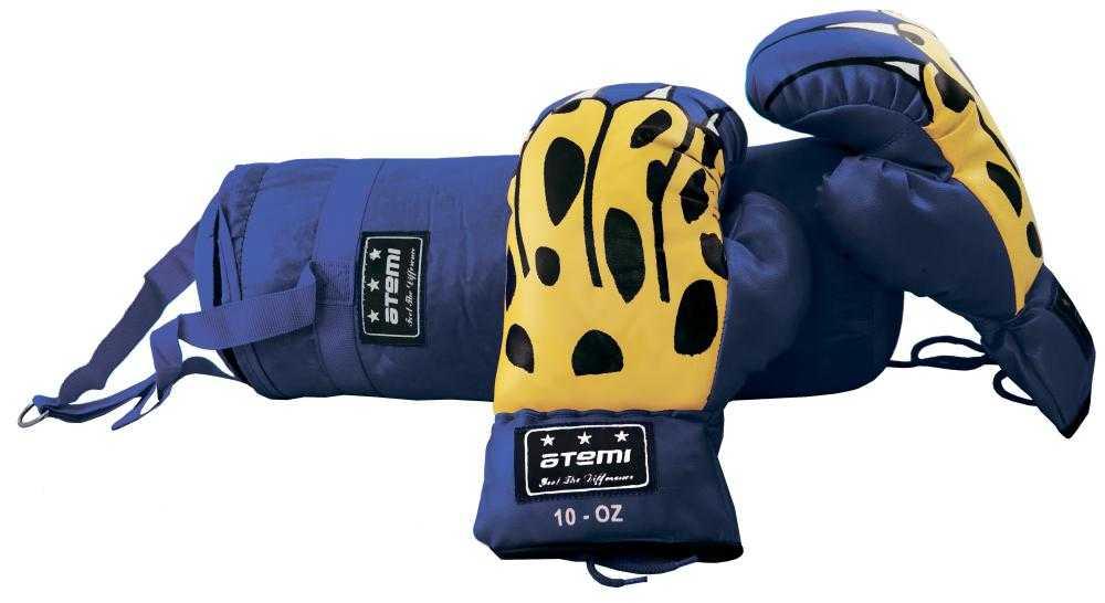 Набор боксерский детский (мешок + перчатки) ATEMI синий BS