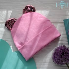 HOH ШВ19-04313590 Шапка + снуд двухслойная с подворотом с ушками медведя из пайеток, розовый