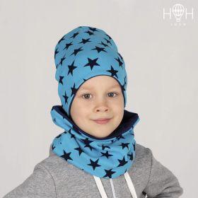 ШВ19-05711290 Двухслойная удлиненная трикотажная шапка с принтом, бирюзовый со звездами
