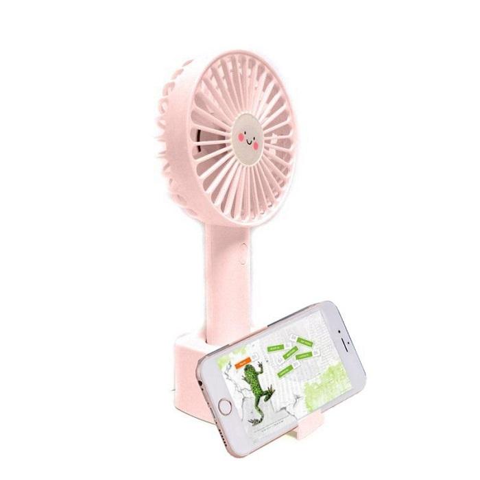Портативный USB-вентилятор с держателем телефона Mini Fan Phone Holder, цвет розовый