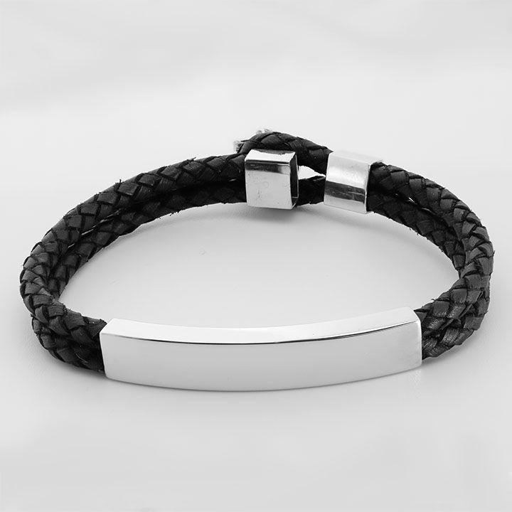 Кожаный браслет с серебряными вставками