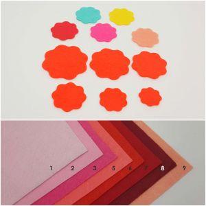 """Фетровые пяточки круглые """"волна"""" 35мм, цвет № 18 кислотно-оранжевый (1уп = 192шт)"""