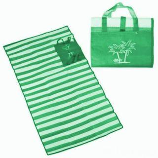 Пляжный коврик с ручками для переноски, 90х170 см, Цвет: Зелёный