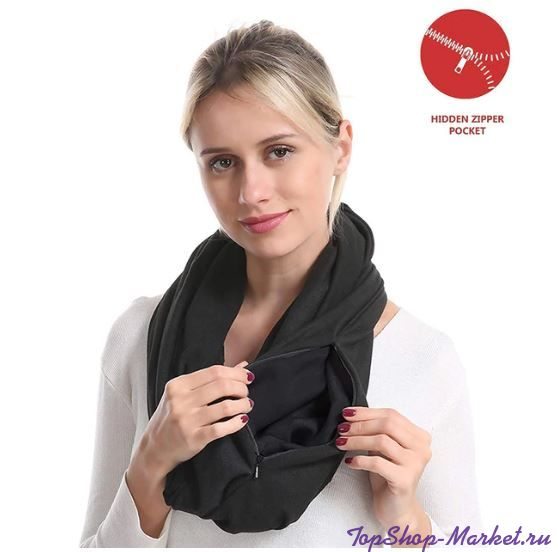 Бесконечный шарф (снуд) с потайным карманом на молнии Hot Pocket Scarf, Цвет: Чёрный