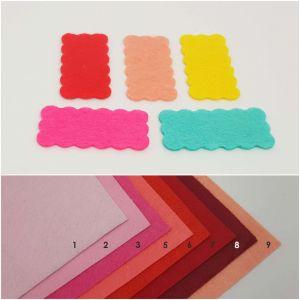 """Фетровые пяточки прямоугольные """"волна"""" 30*60мм, цвет № 03 ярко-розовый (1уп = 120шт)"""