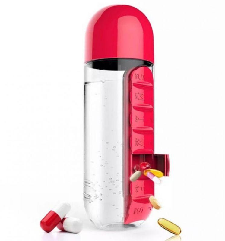 Бутылка с органайзером для таблеток Pill & Vitamin Organizer, цвет красный