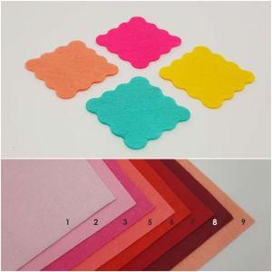 """Фетровые пяточки квадратные """"волна"""" 35мм, цвет № 10 лайм (1уп = 192шт)"""