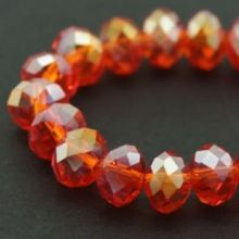 Бусины стекло гальван гран АВ-цв Рондель 6х4мм Красно-оранжевый (1 нить, 1)