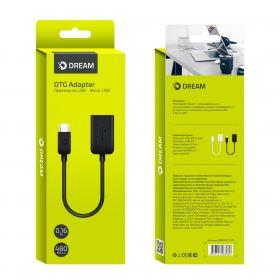Адаптер OTG micro USB - USB черный DREAM