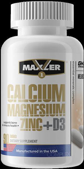 Maxler Calcium Magnesium Zinc + D3, 90 таб_